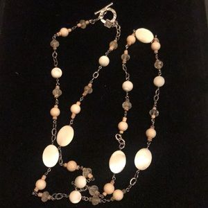 Silpada necklace Cocoa beads and mother of pearl